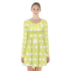 Polkadot White Yellow Long Sleeve Velvet V Neck Dress