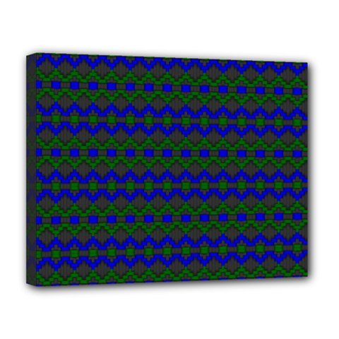 Split Diamond Blue Green Woven Fabric Canvas 14  x 11
