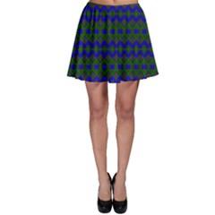 Split Diamond Blue Green Woven Fabric Skater Skirt
