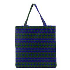 Split Diamond Blue Green Woven Fabric Grocery Tote Bag