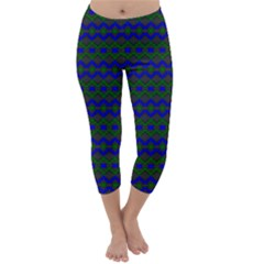 Split Diamond Blue Green Woven Fabric Capri Winter Leggings
