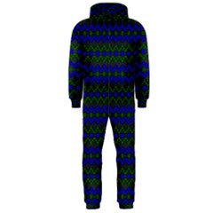 Split Diamond Blue Green Woven Fabric Hooded Jumpsuit (Men)