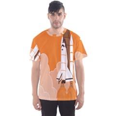 Rocket Space Ship Orange Men s Sport Mesh Tee
