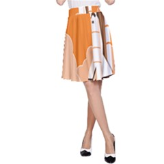 Rocket Space Ship Orange A-Line Skirt