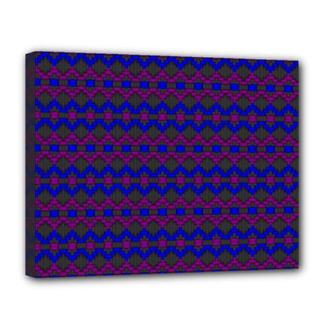 Split Diamond Blue Purple Woven Fabric Canvas 14  x 11