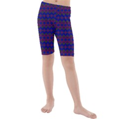 Split Diamond Blue Purple Woven Fabric Kids  Mid Length Swim Shorts