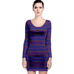 Split Diamond Blue Purple Woven Fabric Long Sleeve Bodycon Dress