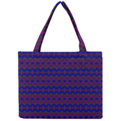 Split Diamond Blue Purple Woven Fabric Mini Tote Bag