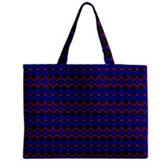 Split Diamond Blue Purple Woven Fabric Medium Zipper Tote Bag
