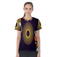Polka Dot Circle Leaf Flower Floral Yellow Purple Red Star Women s Cotton Tee