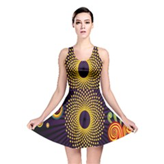 Polka Dot Circle Leaf Flower Floral Yellow Purple Red Star Reversible Skater Dress