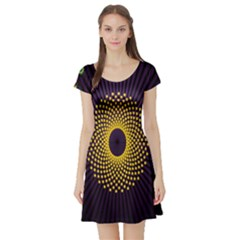 Polka Dot Circle Leaf Flower Floral Yellow Purple Red Star Short Sleeve Skater Dress