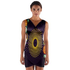 Polka Dot Circle Leaf Flower Floral Yellow Purple Red Star Wrap Front Bodycon Dress