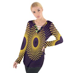 Polka Dot Circle Leaf Flower Floral Yellow Purple Red Star Women s Tie Up Tee