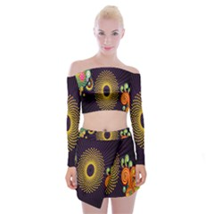 Polka Dot Circle Leaf Flower Floral Yellow Purple Red Star Off Shoulder Top With Skirt Set