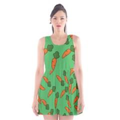 Carrot pattern Scoop Neck Skater Dress