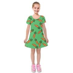 Carrot pattern Kids  Short Sleeve Velvet Dress