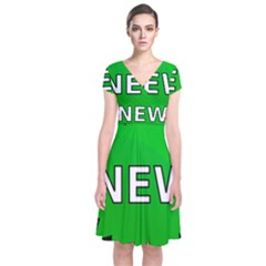 New Icon Sign Short Sleeve Front Wrap Dress