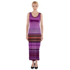 Stripes Line Red Purple Fitted Maxi Dress
