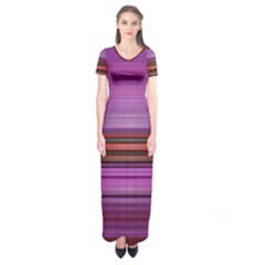 Stripes Line Red Purple Short Sleeve Maxi Dress
