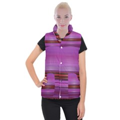 Stripes Line Red Purple Women s Button Up Puffer Vest