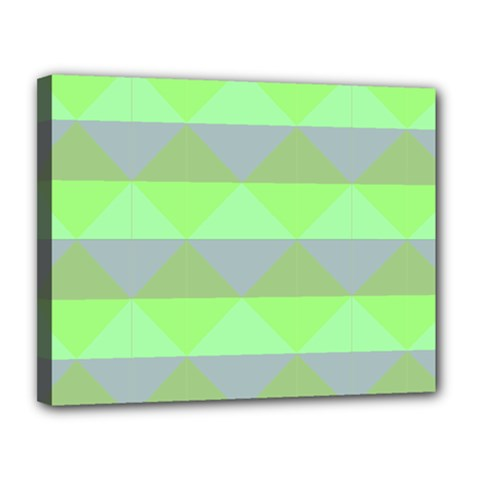 Squares Triangel Green Yellow Blue Canvas 14  x 11