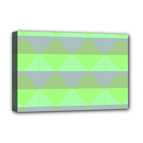 Squares Triangel Green Yellow Blue Deluxe Canvas 18  x 12