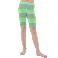 Squares Triangel Green Yellow Blue Kids  Mid Length Swim Shorts