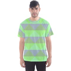 Squares Triangel Green Yellow Blue Men s Sport Mesh Tee