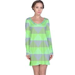 Squares Triangel Green Yellow Blue Long Sleeve Nightdress