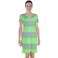 Squares Triangel Green Yellow Blue Short Sleeve Nightdress