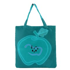 Xray Worms Fruit Apples Blue Grocery Tote Bag