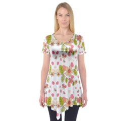 Floral pattern Short Sleeve Tunic