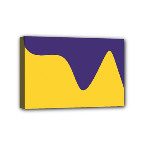 Purple Yellow Wave Mini Canvas 6  x 4