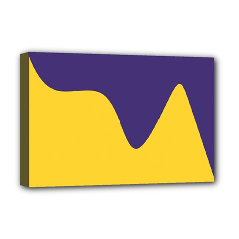 Purple Yellow Wave Deluxe Canvas 18  x 12