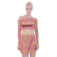 Floral Pattern Off Shoulder Top With Skirt Set