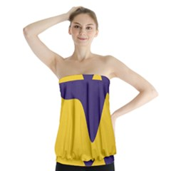Purple Yellow Wave Strapless Top