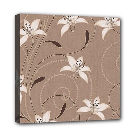 Star Flower Floral Grey Leaf Mini Canvas 8  x 8