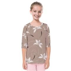 Star Flower Floral Grey Leaf Kids  Quarter Sleeve Raglan Tee
