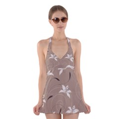 Star Flower Floral Grey Leaf Halter Swimsuit Dress