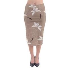 Star Flower Floral Grey Leaf Midi Pencil Skirt