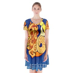 Zodiac Capricorn Short Sleeve V-neck Flare Dress