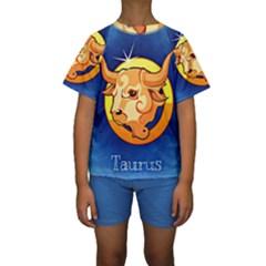Zodiac Taurus Kids  Short Sleeve Swimwear