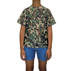 Army Camouflage Kids  Short Sleeve Swimwear