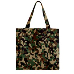 Army Camouflage Zipper Grocery Tote Bag
