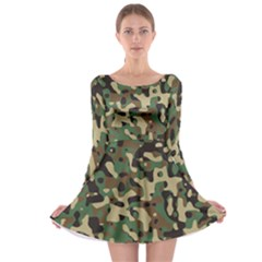 Army Camouflage Long Sleeve Skater Dress