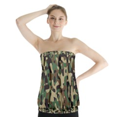 Army Camouflage Strapless Top