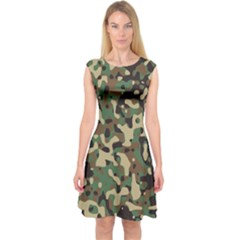 Army Camouflage Capsleeve Midi Dress