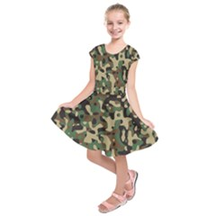Army Camouflage Kids  Short Sleeve Dress