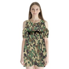 Army Camouflage Shoulder Cutout Velvet  One Piece